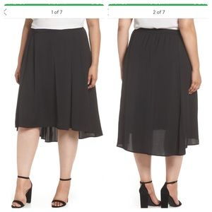 Sejour Plus Size Flounce High/Low Skirt Black 1X